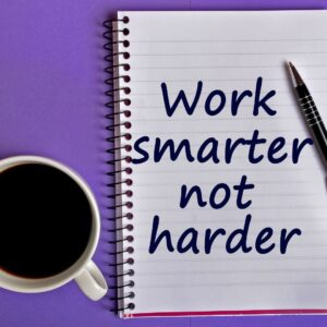 Image of coffee cup and notebook saying Work Smarter not harder